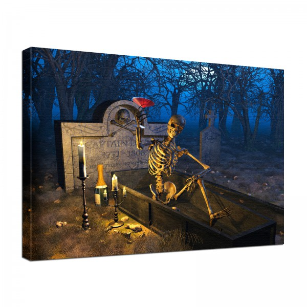 Leinwandbild Gothic Prosit Skelett