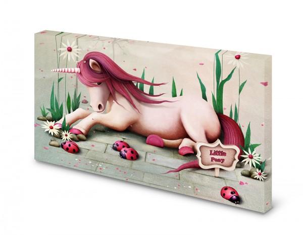 Magnettafel Pinnwand Bild Einhorn Blumen rosa XXL gekantet