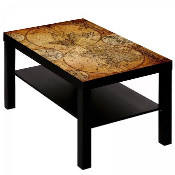 Couchtisch Tisch mit Motiv Bild Weltkarte Globus Antik 3