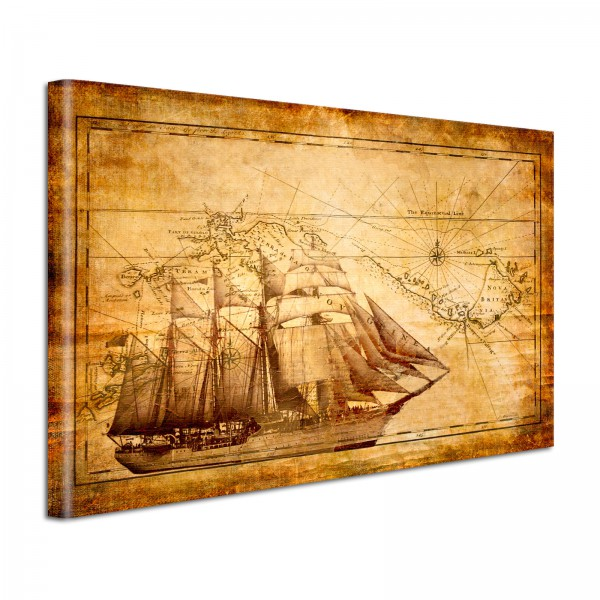 Leinwandbild Gemälde Alte Seekarte
