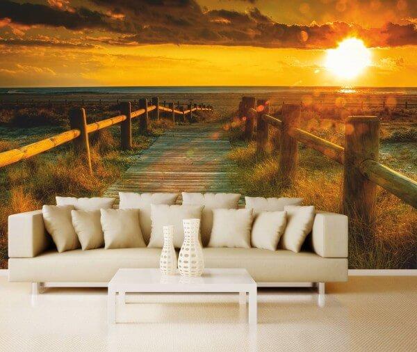 XXL-Poster Fototapete Tapete Vlies Natur Wege zum Sonnenuntergang am Meer
