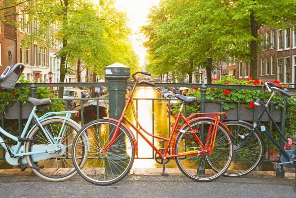Magnettafel Pinnwand XXL Bild Holland Fahrrad Amsterdam