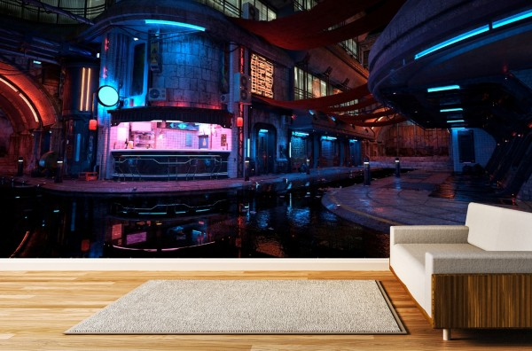 Vlies Tapete Poster Fototapete 3D Effekt Nachtleben City futuristisch