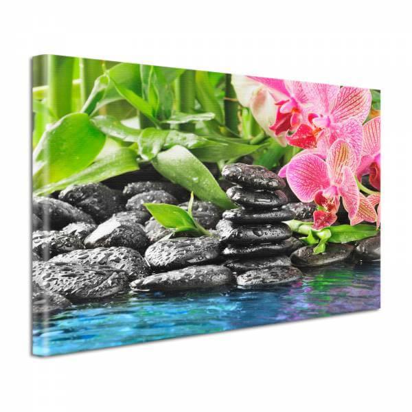 Leinwand Bild Natur & Blumen Wellness Orchidee & Steine