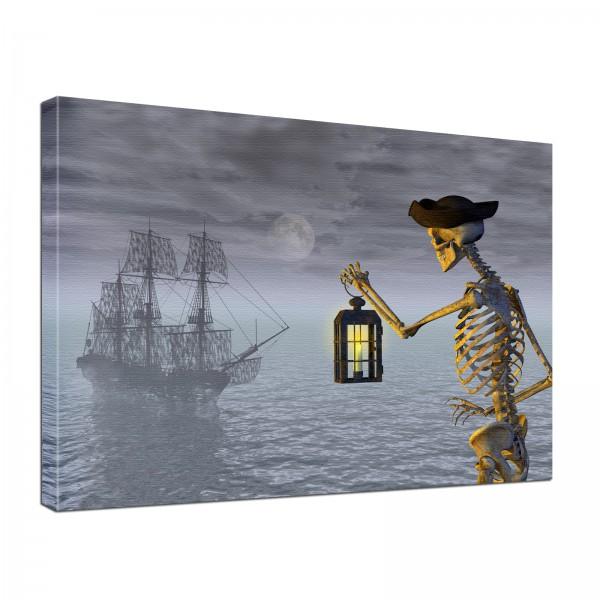 Leinwand Bild edel Gothic Fantasy Piratenschiff & Skelett