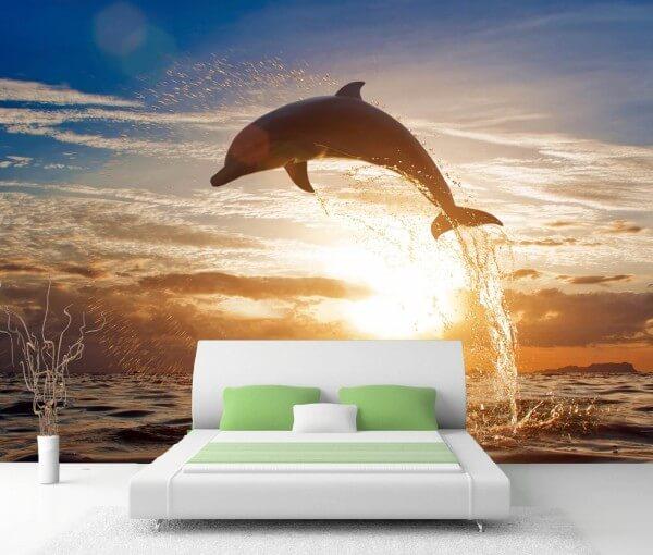 Vlies Tapete Fototapete Delfin Ozean Sprung Sonne