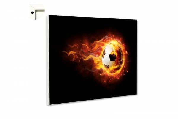 Magnettafel Pinnwand Fußball in Flammen