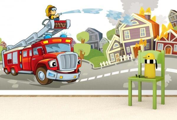 Vlies Tapete XXL Poster Fototapete Feuerwehr Kinderzimmer