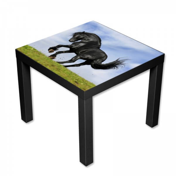 Beistelltisch Couchtisch mit Motiv Tiere Schwarzes Pferd