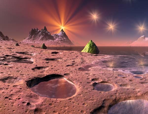 Poster Fototapete Fantasy Leuchtender Planet