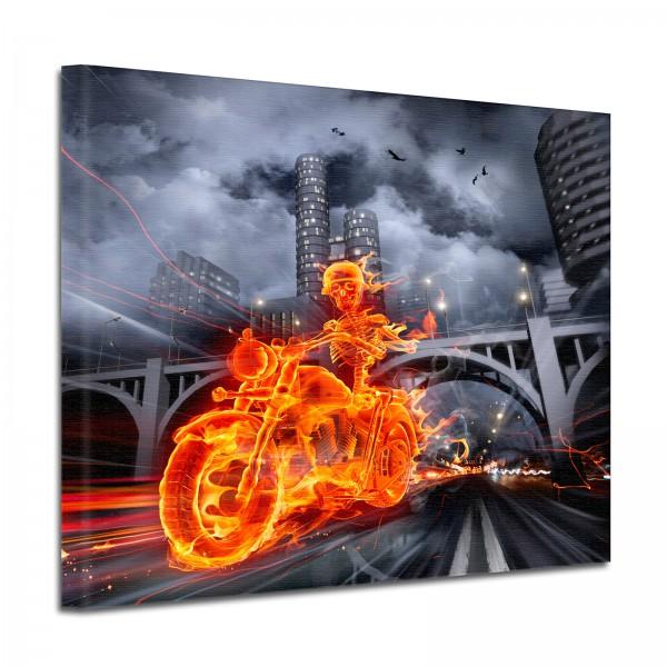 Leinwandbild Burn Brennendes Skelett mit Motorrad in der Nacht