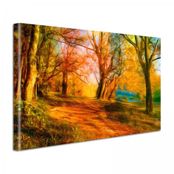 Leinwandbild Gemälde Wald in Herbsttönen