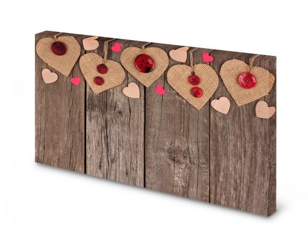 Magnettafel Pinnwand Bild Holzbretter Herz Holzmuster Landhaus gekantet
