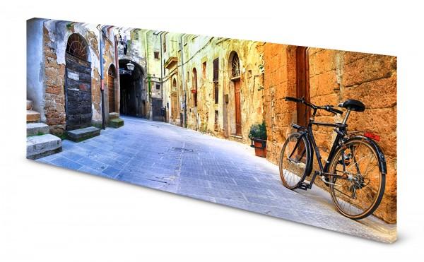 Magnettafel Pinnwand Bild Gasse Häusergasse Fahrrad gekantet