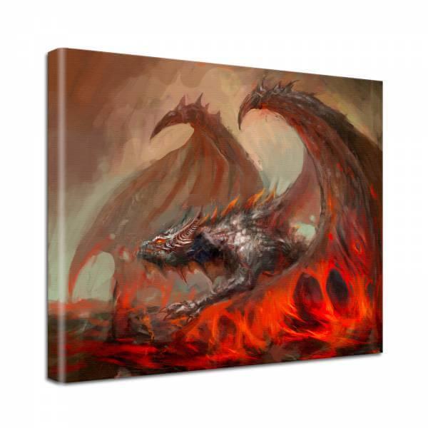 Leinwand Bild edel Fantasy Hell Blut Drache