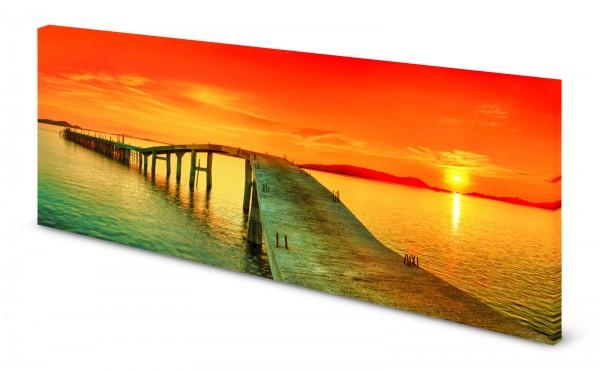 Magnettafel Pinnwand Bild Sonnenuntergang Karibik Steg gekantet