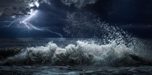 Magnettafel Pinnwand Bild XXL Panorama Meer Unwetter Nacht