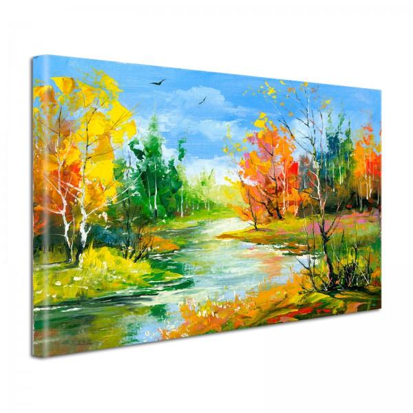 Leinwandbild Gemälde Herbstwald