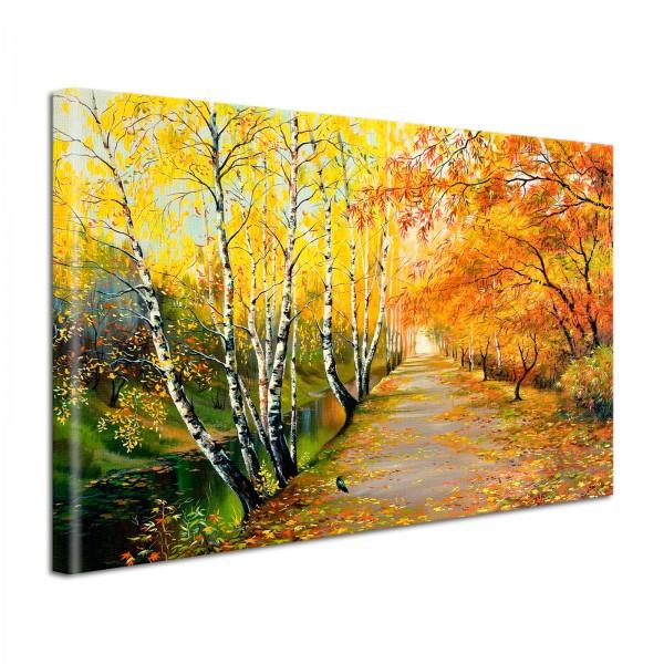 Leinwandbild Gemälde Birkenweg am Bach