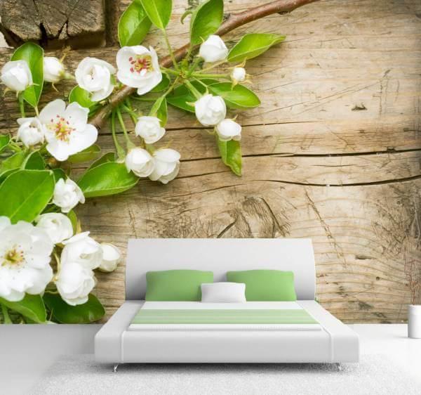 Vlies XXL Poster Fototapete Tapete Natur & Blumen Apfel Blüte in weiß auf Holz