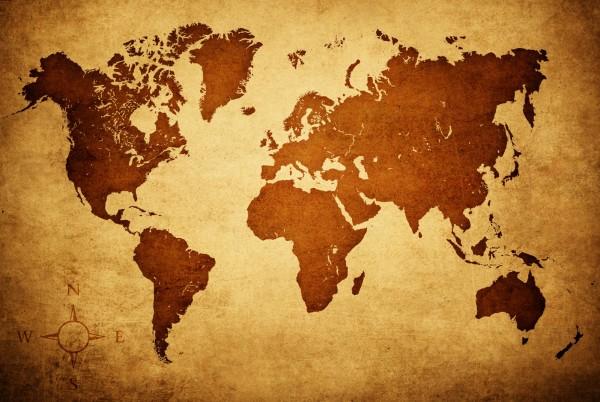 Magnettafel Pinnwand XXL Magnetbild Weltkarte Landkarte Antik