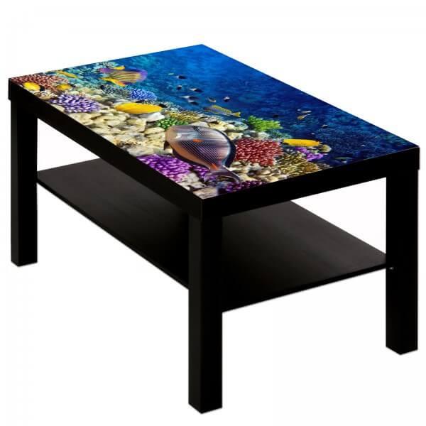 Couchtisch Tisch mit Motiv Tiere Korallenriff Fische