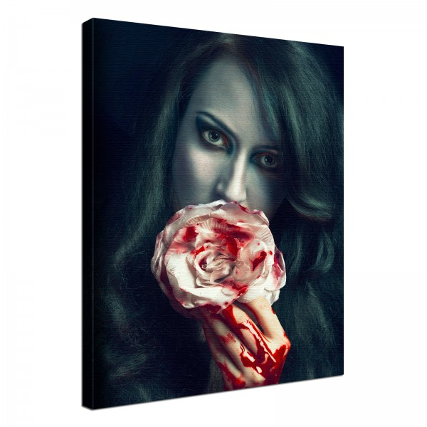 Leinwand Bild edel Gothic black bloody Rose