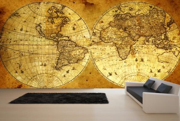 Vlies Tapete XXL Poster Fototapete Globus Doppel Weltkarte