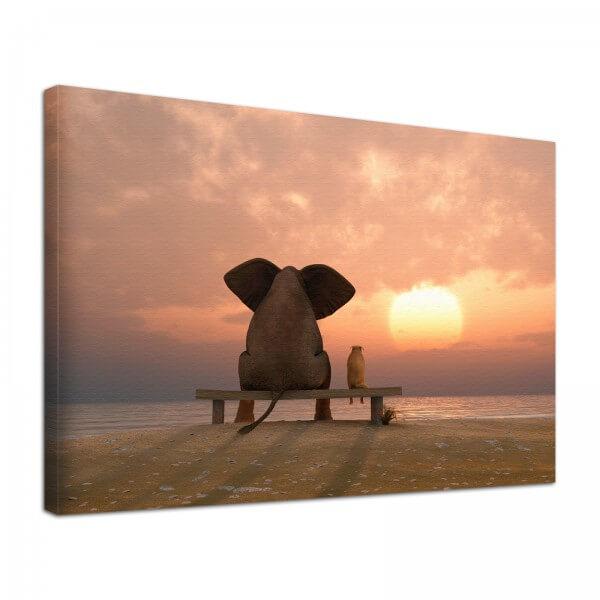 Leinwand Bild edel Tiere Elefant & Hund Freundschaft am Strand