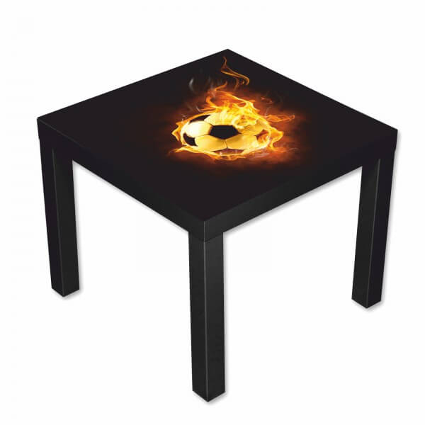 Beistelltisch Couchtisch mit Motiv Fußball in Flammen