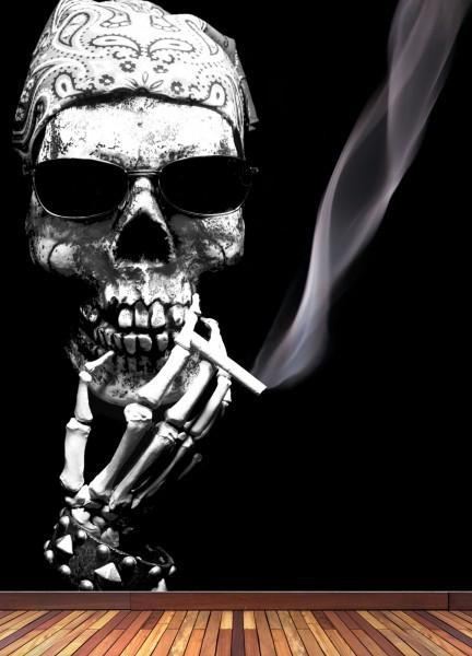 Vlies Tapete XXL Poster Fototapete Totenkopf Smoke Zigarette
