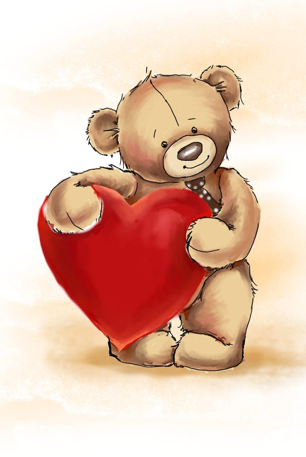 Magnettafel Pinnwand Memoboard mit Motiv Teddy Herz Love