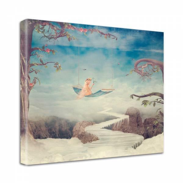 Leinwand Bild edel Fantasy Wolken Kind