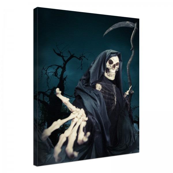 Leinwand Bild edel Gothic black Sensenmann Skelett