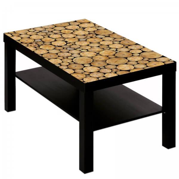 Couchtisch Tisch mit Motiv Bild Holz Muster Scheiben