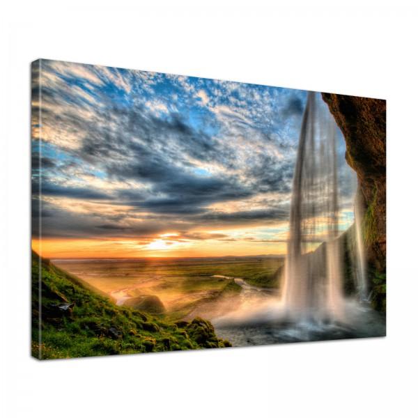Leinwand Bild edel Natur Wasserfall