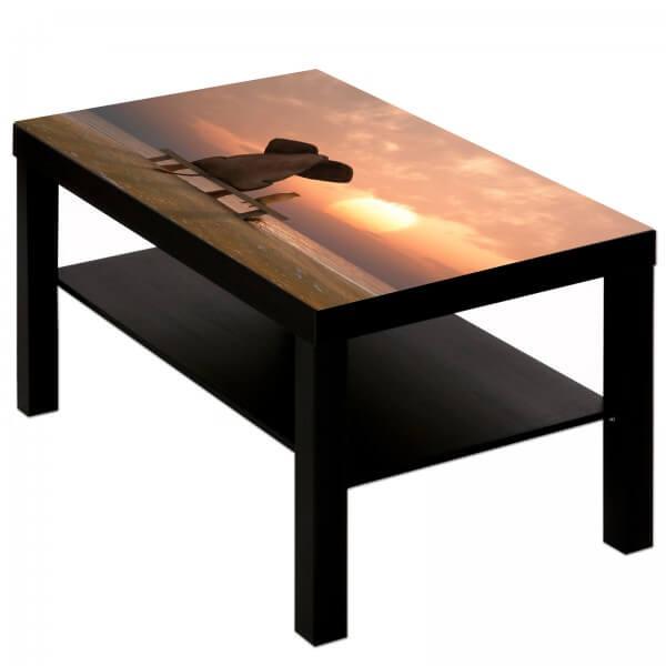 Couchtisch Tisch mit Motiv Tiere Elefant & Hund Freundschaft am Strand