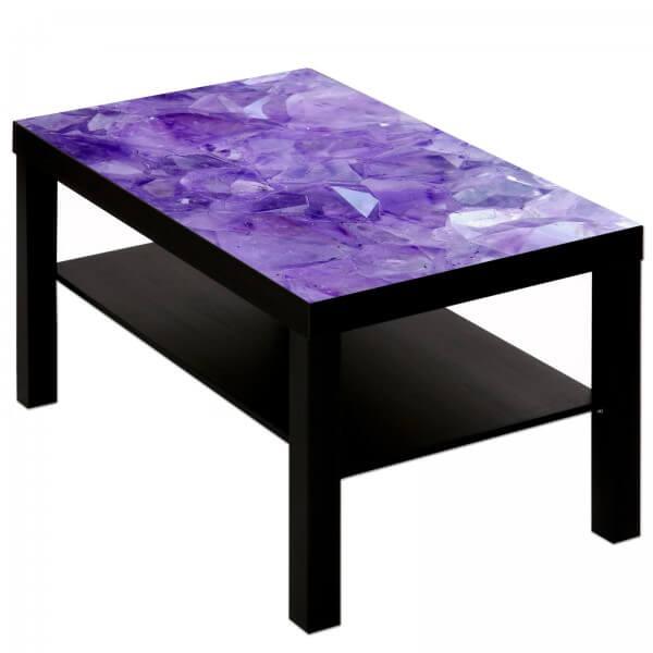 Couchtisch mit Motiv lila Kristalle