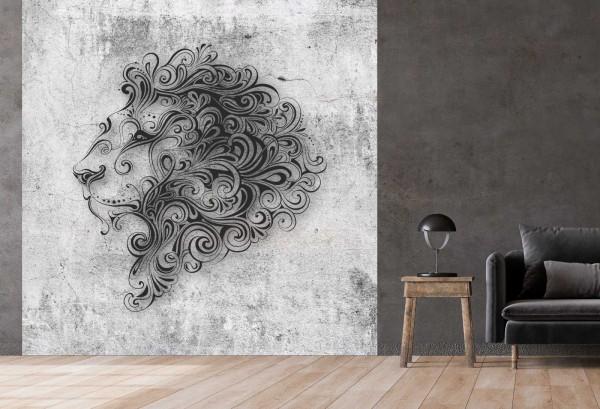Vlies Tapete Betonoptik Poster Fototapete Tribal Löwen Löwenkopf