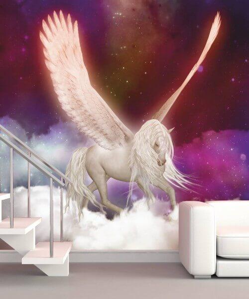 Fototapete XXL Poster Vlies Kinder Pegasus Pferd Flügel lila