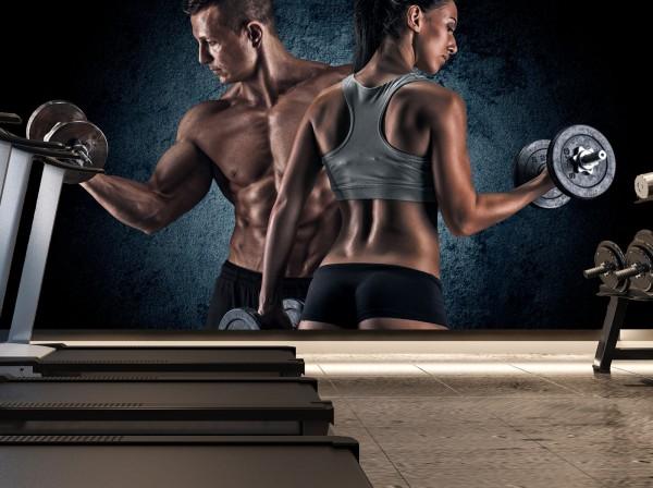 Vlies Tapete XXL Poster Fototapete Sport Fitness Paar Training Hanteln