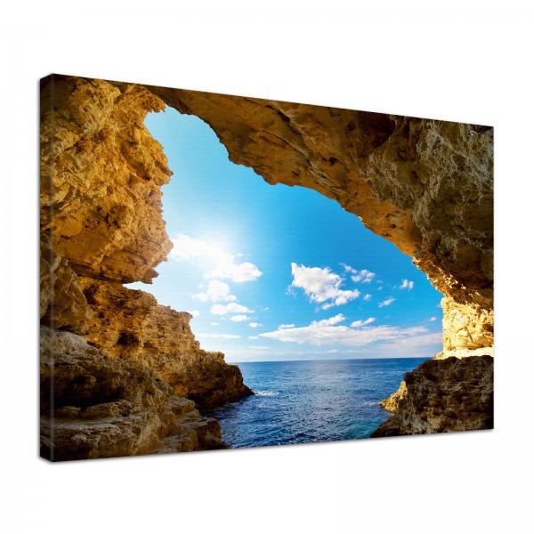 Leinwand Bild edel Natur Grotte im Sonnenschein