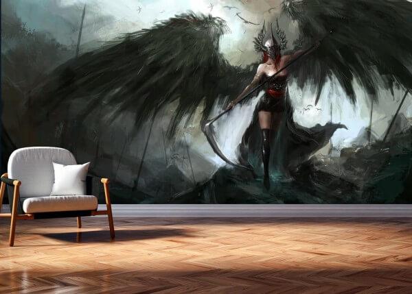 Vlies Tapete Poster Fototapete Fantasy Dunkle Mächte schwarze Kriegerin Sense