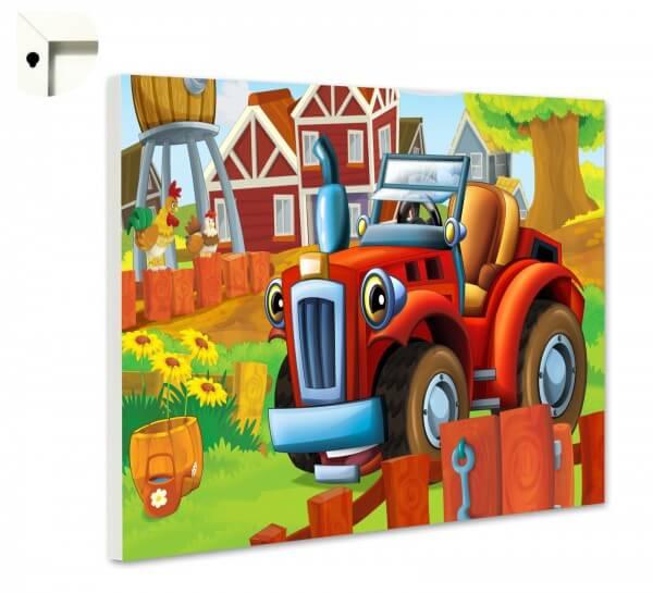 magnettafel kinder kleiner roter traktor  kinder  motiv