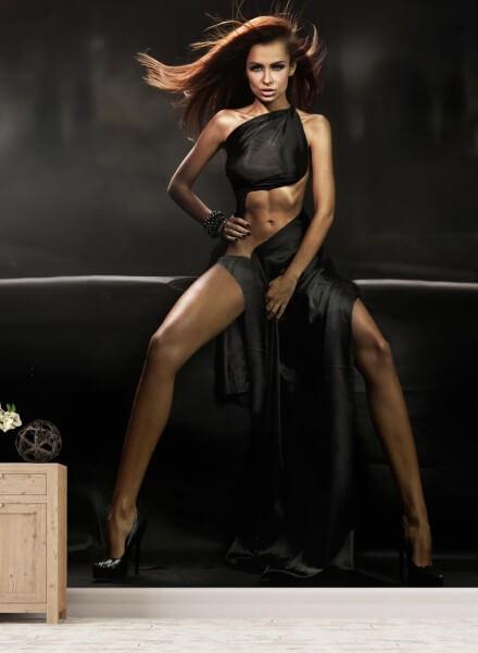 Vlies Tapete XXL Poster Fototapete Erotik Lady in black