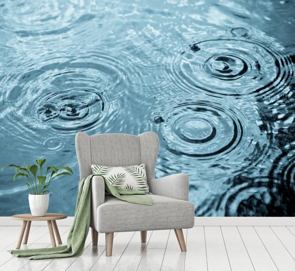 Vlies Tapete Poster Fototapete Regentropfen Wasser aquamarine