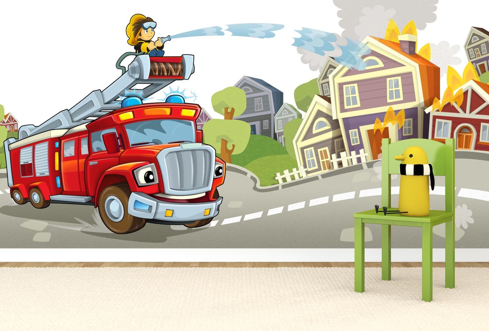Kinderzimmer Tapete Vlies XXL-Poster Fototapete Kinder Feuerwehr