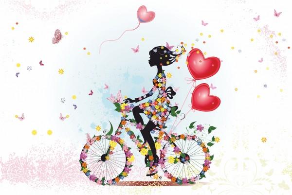 Magnettafel Pinnwand XXL Blumenmädchen Fahrrad Romantik