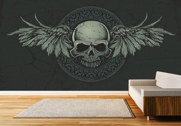 Vlies Tapete XXL Poster Fototapete Totenkopf Tribal Flügel