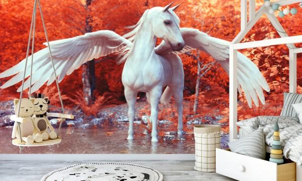 Vliestapete Poster Fototapete Tapete Pegasus Pferd Magic Wald
